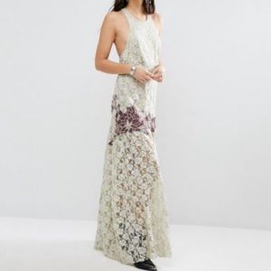 Free People Green Floral Lace Contrast Maxi Dress